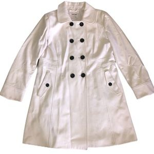 Ivory Double Breasted Lined Quality Wool Peacoat